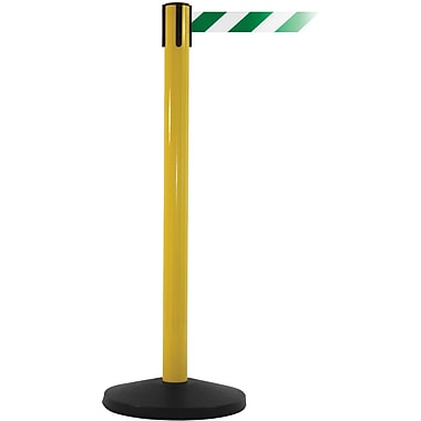 SafetyMaster 450 Yellow Retractable Belt Barrier with 8.5' Green/White Belt