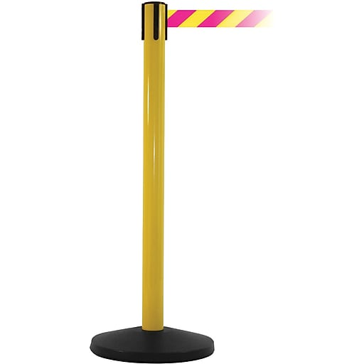 SafetyMaster 450 Yellow Stanchion Barrier Post with Retractable 8.5' Yellow/Magenta Belt