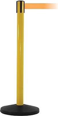 SafetyMaster 450 Yellow Stanchion Barrier Post with Retractable 8.5' Orange Belt