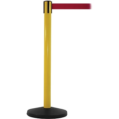 SafetyMaster 450 Yellow Stanchion Barrier Post with Retractable 8.5' Red Belt