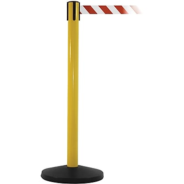 SafetyMaster 450 Yellow Stanchion Barrier Post with Retractable 8.5' Red/White Belt