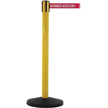 SafetyMaster 450 Yellow Stanchion Barrier Post with Retractable 8.5' Red/White AUTHORIZED Belt