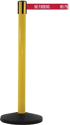SafetyMaster 450 Yellow Stanchion Barrier Post with Retractable 8.5' Red/White NO PARKING Belt