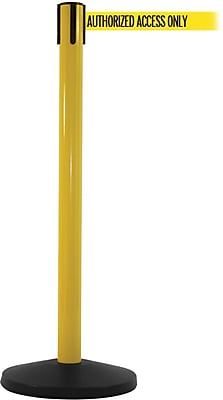 SafetyMaster 450 Yellow Stanchion Barrier Post with Retractable 8.5' Yellow/Black AUTHORIZED Belt