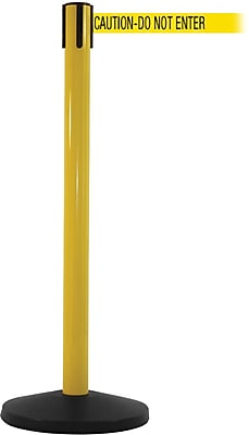 SafetyMaster 450 Yellow Stanchion Barrier Post with Retractable 8.5' Yellow/Black DO NOT ENTER Belt