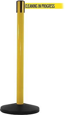 SafetyMaster 450 Yellow Stanchion Barrier Post with Retractable 8.5' Yellow/Black CLEAN Belt