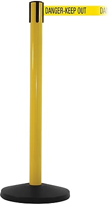 SafetyMaster 450 Yellow Stanchion Barrier Post with Retractable 8.5' Yellow/Black DANGER Belt
