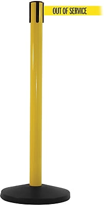 SafetyMaster 450 Yellow Stanchion Barrier Post with Retractable 8.5' Yellow/Black OUT OF SERV Belt