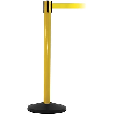 SafetyMaster 450 Yellow Stanchion Barrier Post with Retractable 8.5' Yellow Belt