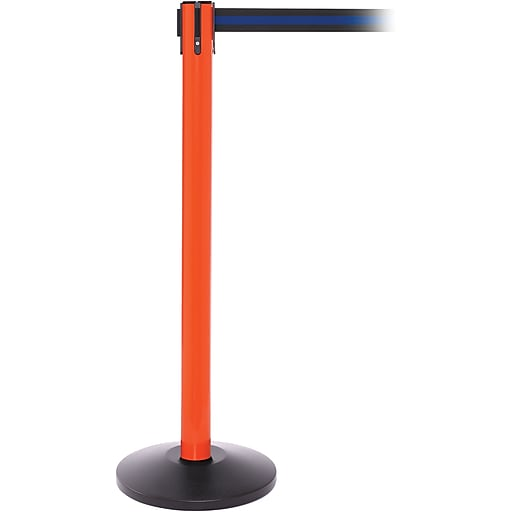 SafetyPro 250 Orange Stanchion Barrier Post with Retractable 11' Black/Blue Belt