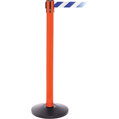 SafetyPro 250 Orange Stanchion Barrier Post with Retractable 11' Blue/White Belt
