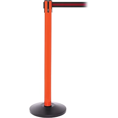SafetyPro 250 Orange Stanchion Barrier Post with Retractable 11' Black/Red Belt
