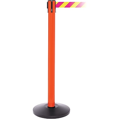 SafetyPro 250 Orange Stanchion Barrier Post with Retractable 11' Yellow/Magenta Belt