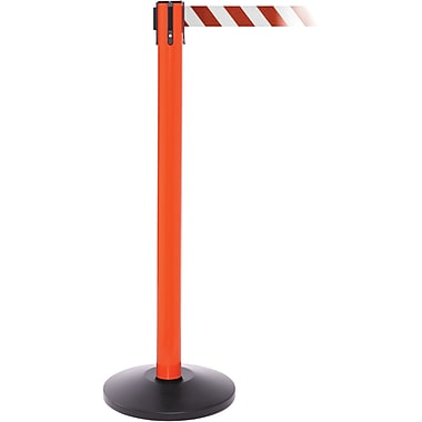 SafetyPro 250 Orange Stanchion Barrier Post with Retractable 11' Red/White Belt