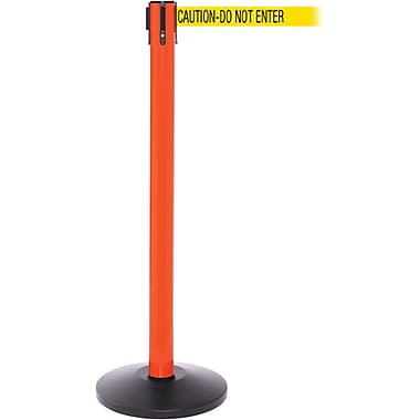 SafetyPro 250 Orange Stanchion Barrier Post with Retractable 11' Yellow/Black DO NOT ENTER Belt