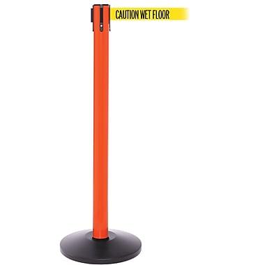SafetyPro 250 Orange Stanchion Barrier Post with Retractable 11' Yellow/Black WET FLOOR Belt