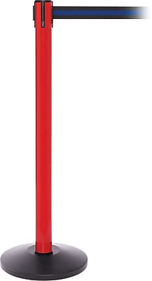 SafetyPro 250 Red Stanchion Barrier Post with Retractable 11' Black/Blue Belt