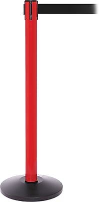 SafetyPro 250 Red Stanchion Barrier Post with Retractable 11' Black Belt