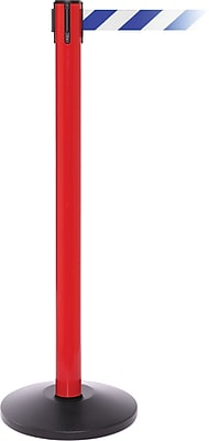 SafetyPro 250 Red Stanchion Barrier Post with Retractable 11' Blue/White Belt