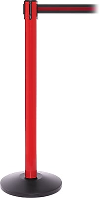 SafetyPro 250 Red Stanchion Barrier Post with Retractable 11' Black/Red Belt