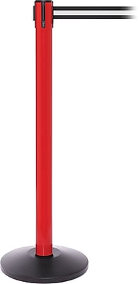 SafetyPro 250 Red Stanchion Barrier Post with Retractable 11' Black/White Belt
