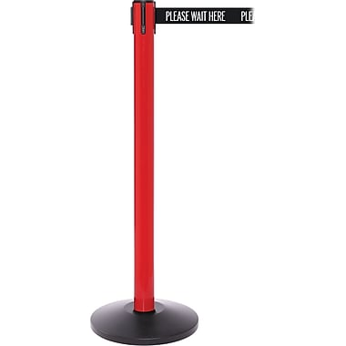 SafetyPro 250 Red Retractable Belt Barrier with 11' Black/White PL WAIT HERE Belt