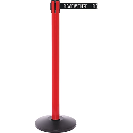 SafetyPro 250 Red Stanchion Barrier Post with Retractable 11' Black/White PL WAIT HERE Belt