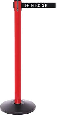 SafetyPro 250 Red/Orange Stanchion Barrier Post with Retractable 11' Black/White LINE Belt