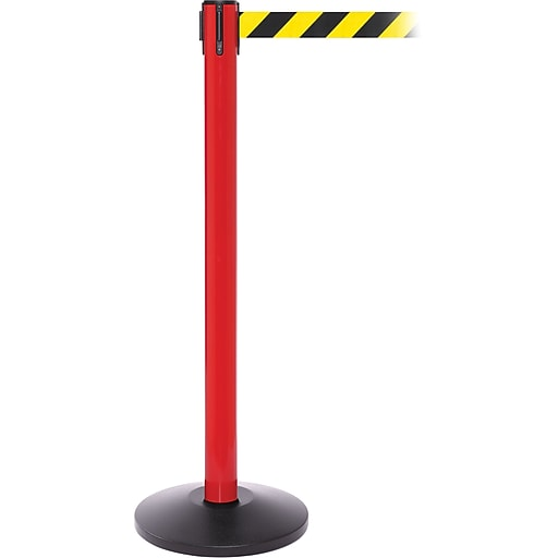 SafetyPro 250 Red Stanchion Barrier Post with Retractable 11' Black/Yellow Belt