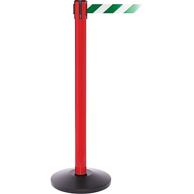 SafetyPro 250 Red Stanchion Barrier Post with Retractable 11' Green/White Belt