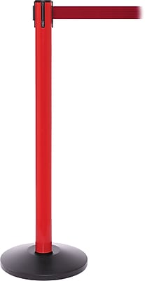 SafetyPro 250 Red Stanchion Barrier Post with Retractable 11' Red Belt