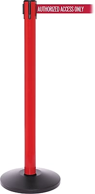 SafetyPro 250 Red Stanchion Barrier Post with Retractable 11' Red/White AUTHORIZED Belt