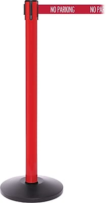 SafetyPro 250 Red Stanchion Barrier Post with Retractable 11' Red/White NO PARKING Belt