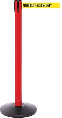 SafetyPro 250 Red Stanchion Barrier Post with Retractable 11' Yellow/Black AUTHORIZED Belt