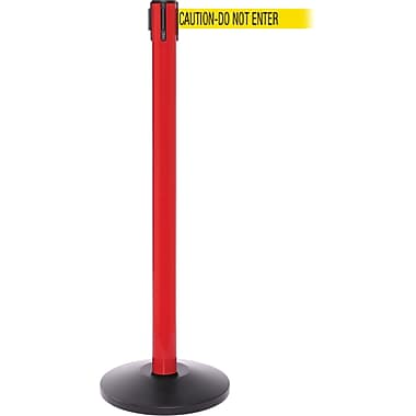 SafetyPro 250 Red Retractable Belt Barrier with 11' Yellow/Black DO NOT ENTER Belt