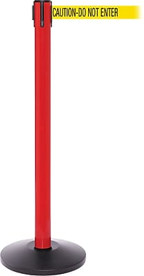 SafetyPro 250 Red Stanchion Barrier Post with Retractable 11' Yellow/Black DO NOT ENTER Belt