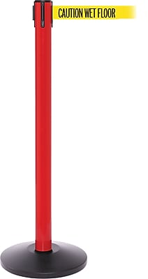 SafetyPro 250 Red Stanchion Barrier Post with Retractable 11' Yellow/Black WET FLOOR Belt
