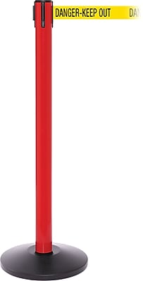 SafetyPro 250 Red Stanchion Barrier Post with Retractable 11' Yellow/Black DANGER Belt