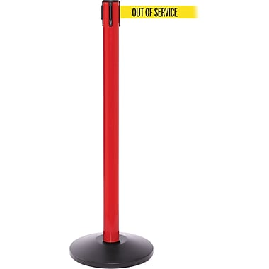 SafetyPro 250 Red Stanchion Barrier Post with Retractable 11' Yellow/Black OUT OF SERV Belt