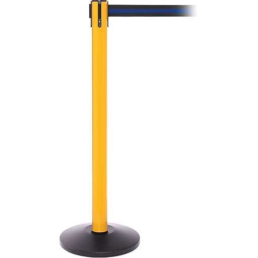 SafetyPro 250 Yellow Stanchion Barrier Post with Retractable 11' Black/Blue Belt
