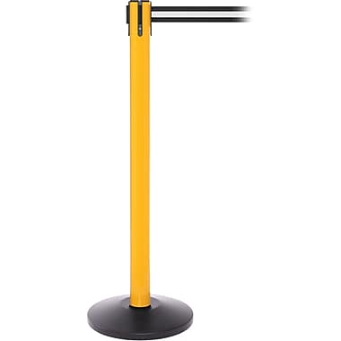 SafetyPro 250 Yellow Stanchion Barrier Post with Retractable 11' Black/White Belt