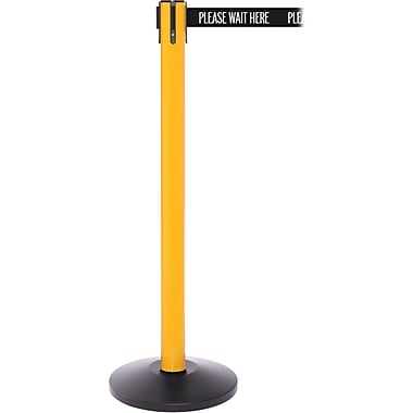 SafetyPro 250 Yellow Retractable Belt Barrier with 11' Black/White PL WAIT HERE Belt