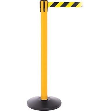 SafetyPro 250 Yellow Stanchion Barrier Post with Retractable 11' Black/Yellow Belt
