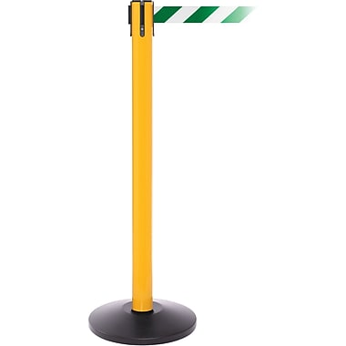 SafetyPro 250 Yellow Stanchion Barrier Post with Retractable 11' Green/White Belt