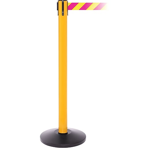 SafetyPro 250 Yellow Stanchion Barrier Post with Retractable 11' Yellow/Magenta Belt