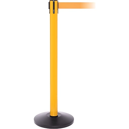 SafetyPro 250 Yellow Stanchion Barrier Post with Retractable 11' Orange Belt