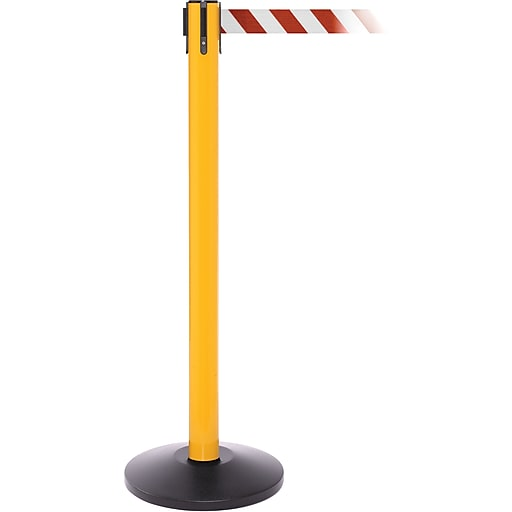 SafetyPro 250 Yellow Stanchion Barrier Post with Retractable 11' Red/White Belt