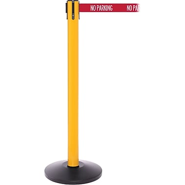 SafetyPro 250 Yellow Stanchion Barrier Post with Retractable 11' Red/White NO PARKING Belt