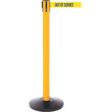 SafetyPro 250 Yellow Stanchion Barrier Post with Retractable 11' Yellow/Black OUT OF SERV Belt