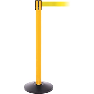 SafetyPro 250 Yellow Stanchion Barrier Post with Retractable 11' Yellow Belt